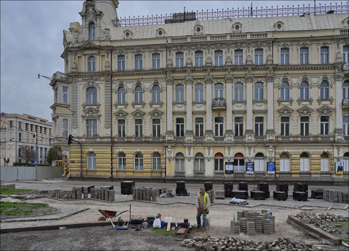 Łódź, ul. Zachodnia / Zielona, przystanek Łódź Śródmieście w trakcie budowy